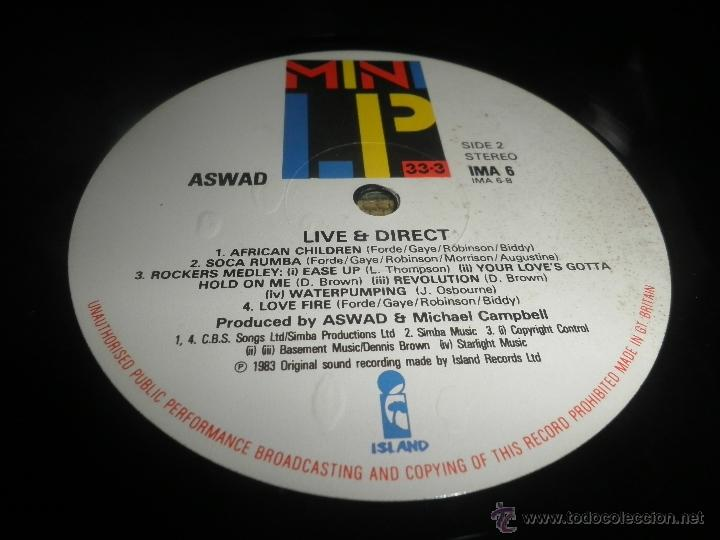 Discos de vinilo: ASWAD - LIVE AND DIRECT LP - ORIGINAL INGLES - ISLAND RECORDS 1983 - STEREO - - Foto 8 - 269262738