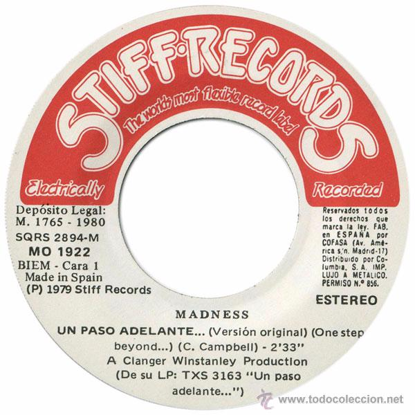 Discos de vinilo: Madness – Un Paso Adelante... (One Step Beyond...) - Sg Spain 1980 - Stiff Records MO 1922 - Foto 3 - 50610762