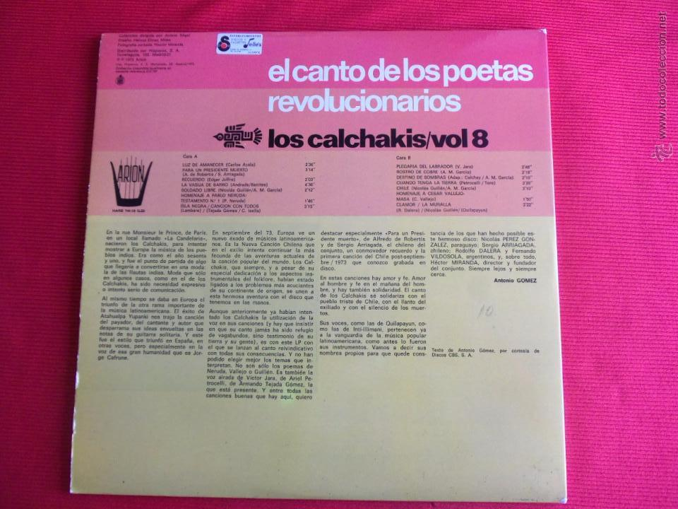 Discos de vinilo: EL CANTO DE LOS POETAS REVOLUCIONARIOS - LOS CALCHAKIS VOL.8 - Foto 2 - 50624280