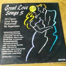 Discos de vinilo: GREAT LOVE SONGS 5 20 CLASSIC. CONTIENE 2 LPS. Lote 50624675