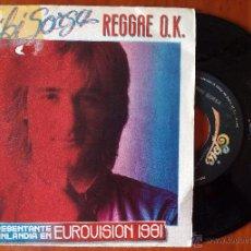 Discos de vinilo: RIKI SORSA, REGGAE O.K. (CBS 1981) SINGLE ESPAÑA - EUROVISION FINLANDIA 1981. Lote 50627064