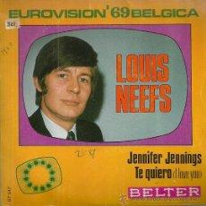 Discos de vinilo: LOUIS NEEFS SINGLE SELLO BELTER AÑO 1969 FESTIVAL DE EUROVISION BELGICA EDITADO EN ESPAÑA. Lote 50630892