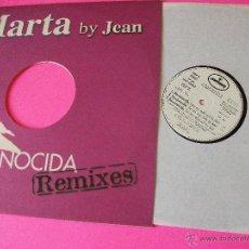 Discos de vinilo: MARTA SANCHEZ, EX OLE OLE, PROMO, DESCONOCIDA REMIXES, BY JEAN, MAXI VINILO. Lote 50640367