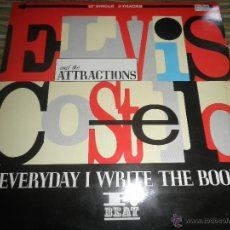Discos de vinilo: ELVIS COSTELO - EVERY DAY I WRITE THE BOOK MAXI 45 R.P.M. - ORIGINAL INGLES - F. BEAT RECORDS 1983 -. Lote 50656984