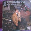 Discos de vinilo: LP - LUIS MARIANO - RECORDANDO A LUIS MARIANO (SPAIN, EMI ODEON 1972). Lote 50675815
