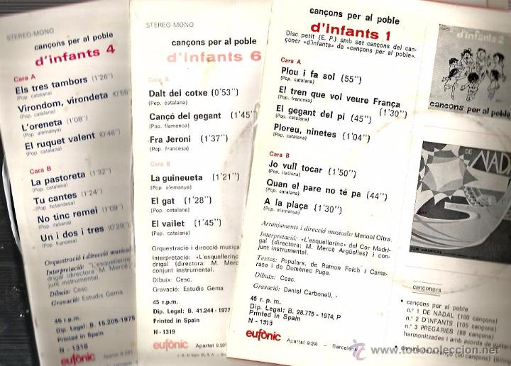 Discos de vinilo: 3 EP´S D´INFANTS ( CANÇONS PER AL POBLE ) 21 CANÇONS TRADICIONALS D´ARREU EL MÓN - Foto 2 - 50676780