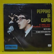 Discos de vinilo: PEPPINO DI CAPRI - ST TROPEZ TWIST + 3 - EP. Lote 50691470