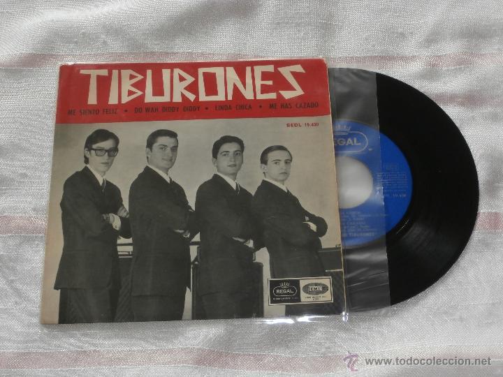 LOS TIBURONES 7´EP ME SIENTO FELIZ + 3 TEMAS (1965) BUENA CONDICION **MUY RARO** (Música - Discos de Vinilo - EPs - Grupos Españoles 50 y 60)