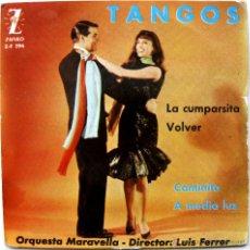 Discos de vinilo: ORQUESTA MARAVELLA - TANGOS (LA CUMPARSITA +3) - EP ZAFIRO 1962 BPY. Lote 50725724