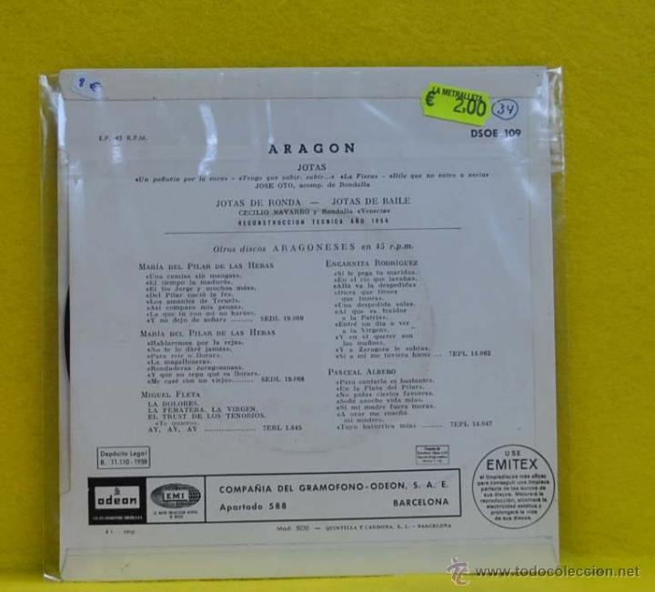 Discos de vinilo: JOSE OTO / CECILIO NAVARRO - ARAGON - JOTAS DE RONDA / JOTAS DE BAILE - SINGLE - Foto 2 - 50729434