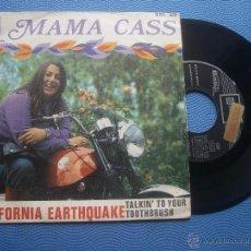 Discos de vinilo: MAMA CASS CALIFORNIA EARTHQUAKE SINGLE SPAIN 1968 PROMO PDELUXE. Lote 50748426