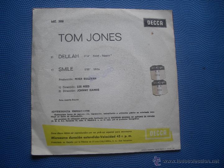 Discos de vinilo: TOM JONES DELILAH SINGLE SPAIN 1967 PDELUXE - Foto 2 - 50756818