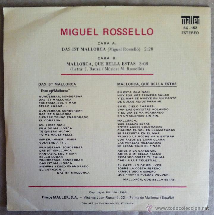 Discos de vinilo: MIGUEL ROSSELLO, DAS IST MALLORCA (MALLER 1986) SINGLE - FIRMADO POR EL ARTISTA - Foto 2 - 50765033