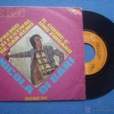 Discos de vinilo: NICOLA DI BARI IL CUORE E UNO ZINGARO SINGLE SPAIN 1971 PDELUXE. Lote 50779779