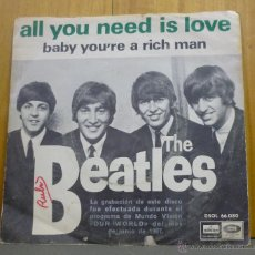 Discos de vinilo: THE BEATLES - ALL YOU NEED IS LOVE / BABY YOU´RE A RICH MAN - SINGLE ODEON 1967 - SR-*2. Lote 50787612