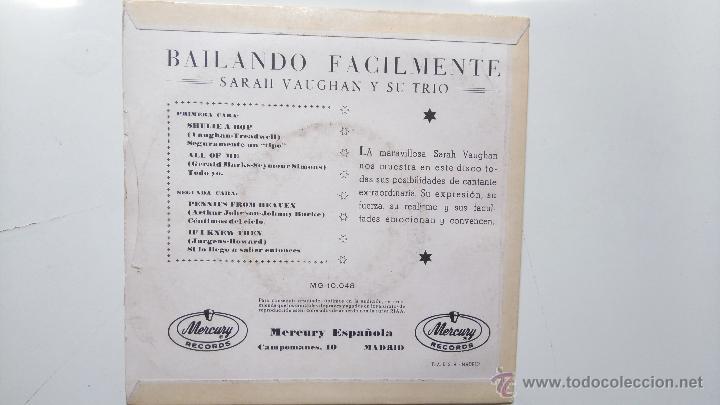 Discos de vinilo: SARAH VAUGHAN- (SWINGIN EASY)- SHULIE A BOP +3- SPANISH EP . - Foto 2 - 50798393