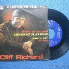 Discos de vinilo: CLIFF RICHARD CONGRATULATIONS SINGLE SPAIN 1968 PDELUXE. Lote 50812832