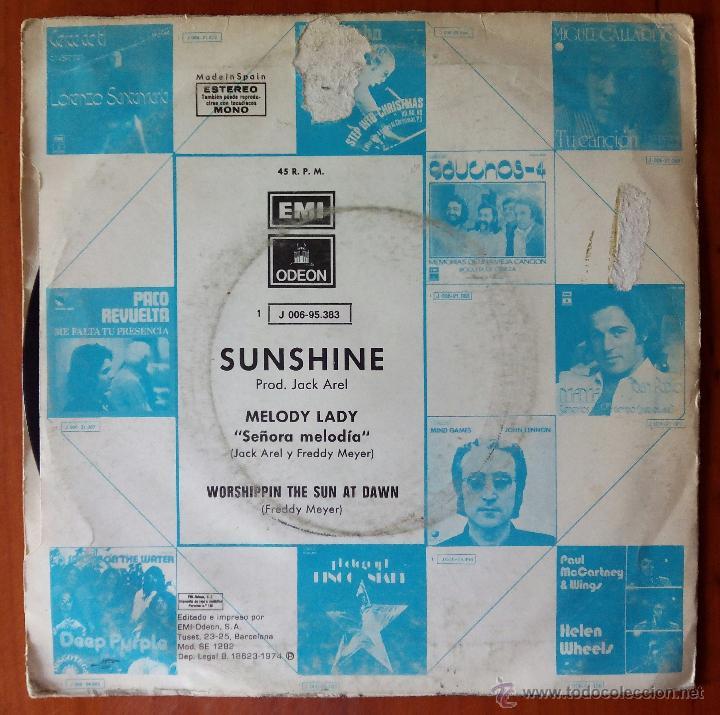 Discos de vinilo: SUNSHINE, MELODY (EMI 1974) SINGLE ESPAÑA - Foto 2 - 50816379