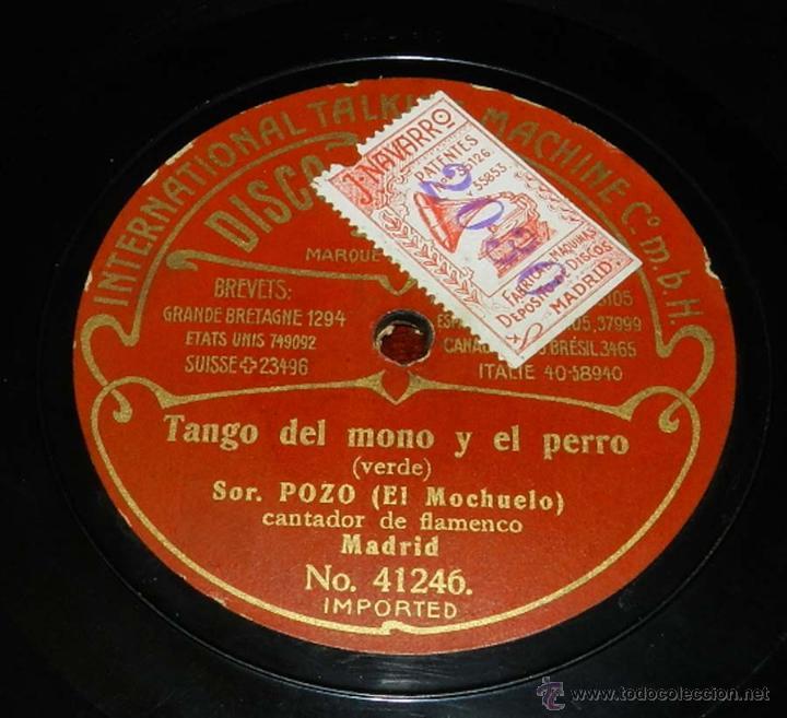 Discos de vinilo: DISCO ODEON PIZARRA, SOR. POZO, EL MOCHUELO, TANGO DEL NIÑO DE CERA Nº 41247, TANGO DEL MONO Y EL PE - Foto 2 - 50825613