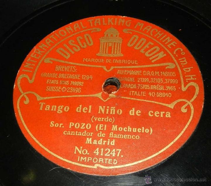 Discos de vinilo: DISCO ODEON PIZARRA, SOR. POZO, EL MOCHUELO, TANGO DEL NIÑO DE CERA Nº 41247, TANGO DEL MONO Y EL PE - Foto 4 - 50825613