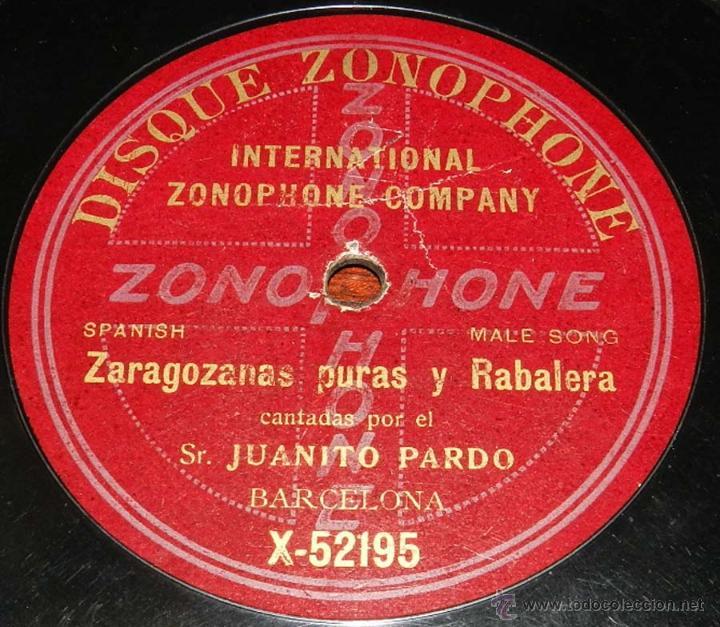 Discos de vinilo: DISCO PIZARRA ZONOPHONE, JUANITO PARDO, JOTAS, ZARAGOZANAS PURAS Y RABALERA Nº X-52195, BUEN ESTADO - Foto 2 - 50826399