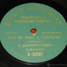Discos de vinilo: DISCO PIZARRA ZONOPHONE, JUANITO PARDO, JOTAS,LOS DE ANSO Y CALATAYUD, Nº X-52187, BUEN ESTADO. Lote 50826432