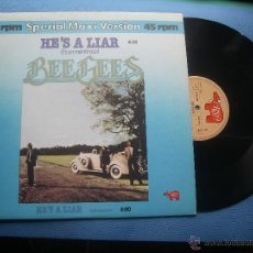 Discos de vinilo: BEE GEES HE´S A LIAR MAXI SPAIN 1991 PDELUXE. Lote 50849597