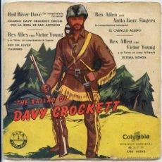 Discos de vinilo: RED RIVER DAVE / CUANDO DAVY CROCKETT ENCONTRO LA ROSA DE SAN ANTONIO + 3 (EP 1958). Lote 50871434