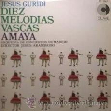 Discos de vinilo: JESÚS GURIDI - DIEZ MELODÍAS VASCAS, AMAYA. Lote 50885652