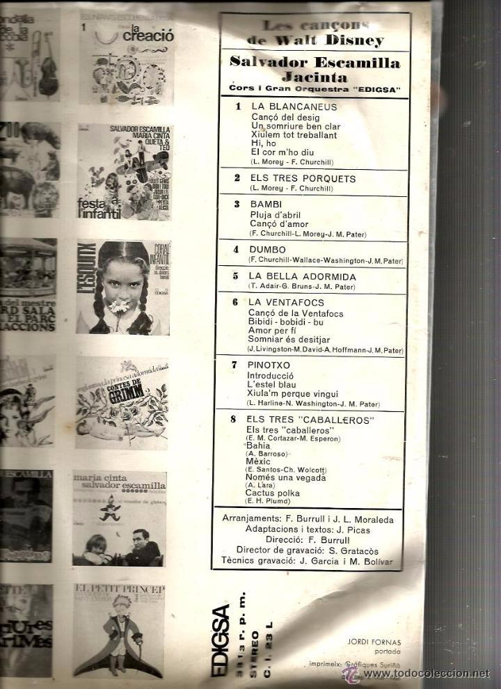 Discos de vinilo: P JACINTA & SALVADOR ESCAMILLA :LES CANÇONS DE WALT DISNEY ( PINOTXO, BLANCANEUS, BAMBI, DUMBO, ETC - Foto 2 - 50890660