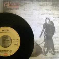Discos de vinilo: SAXON. BACK ON THE STREETS/ LIVE FAST DIE YOUNG. EMI, ESP. 1985 SINGLE PROMOCIONAL + COPIA CUBIERTA. Lote 50910315