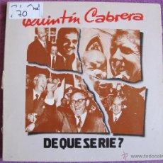Disques de vinyle: LP - QUINTIN CABRERA - DE QUE SE RIE? (SPAIN, LE CHANT DU MONDE 1977, PORTADA DOBLE). Lote 50920021