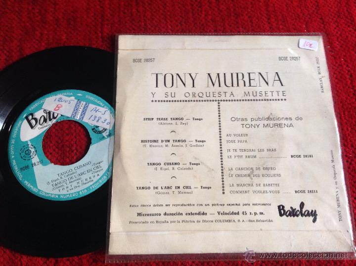 Discos de vinilo: TONY MURERA y su orquesta MUSETTE EP - Foto 2 - 50945291