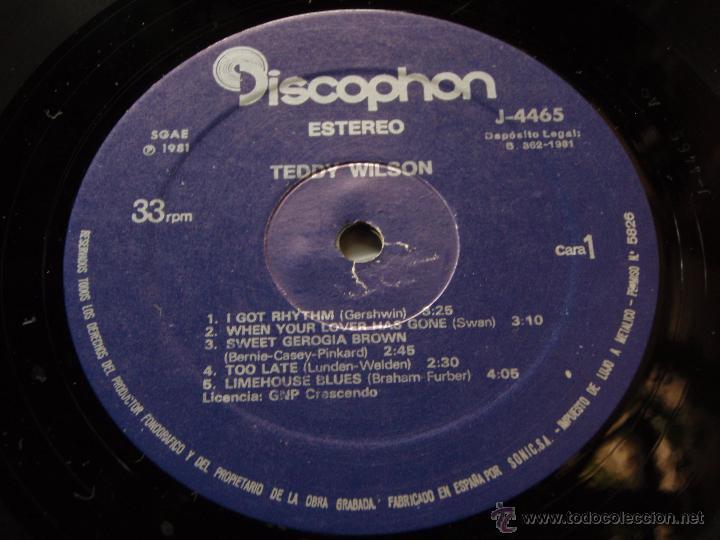 Discos de vinilo: TEDDY WILSON ( TEDDY WILSON ) 1981 - SPAIN LP33 DISCOPHON - Foto 4 - 50948811