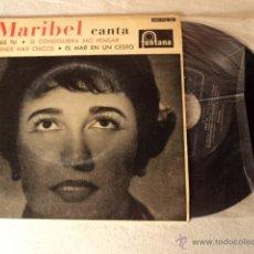 Discos de vinilo: DISCO SINGLE MARIBEL - DONDE HAY CHICOS - EP RARO DE VINILO. Lote 50974450