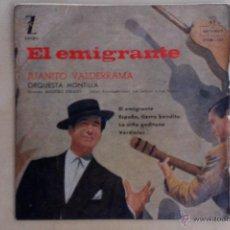 Discos de vinilo: JUANITO VALDERRAMA -EL EMIGRANTE- EP 1959 MONTILLA. Lote 50982368