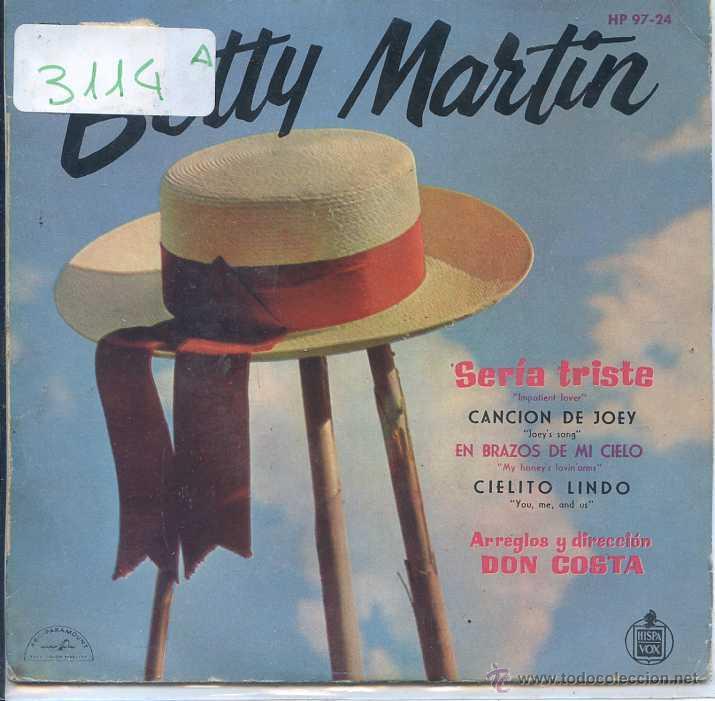 BETTY MARTIN / SERIA TRISTE / CANCION DE JOEY + 2 (EP 1960) (Música - Discos de Vinilo - EPs - Pop - Rock Extranjero de los 50 y 60)