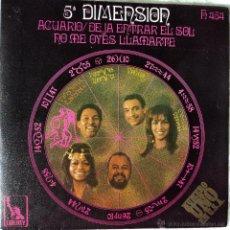 Discos de vinilo: 5.ª DIMENSIÓN - ACUARIO (DEJA ENTRAR EL SOL) - EDICIÓN DE 1969 DE ESPAÑA. Lote 51042254