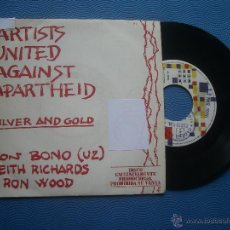Discos de vinilo: ARTIST UNITED AGAINST APARTHEID SILVER AND GOLD SINGLE SPAIN 1985 PDELUXE. Lote 51064882