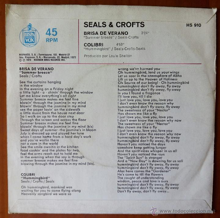 Discos de vinilo: SEALS & CROFTS, BRISA DE VERANO + COLIBRI (HPVX 1973) SINGLE ESPAÑA - SUMMER BREEZE - Foto 2 - 51094054