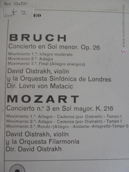 Discos de vinilo: DAVID OISTRACH. BRUCH VIOLINKONZERT G-MOLL OP. 26. MOZART VIOLINKONZERT NR.3 G-DUR KV 216. - Foto 8 - 51098865