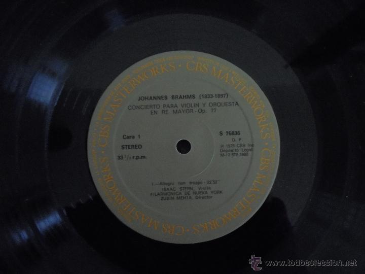 Discos de vinilo: BRAHMS CONCIERTO PARA VIOLIN. ISAAC STERN. ZUBIN MEHTA. FILARMONICA DE NUEVA YORK. MASTER WORKS CBS. - Foto 4 - 51099013