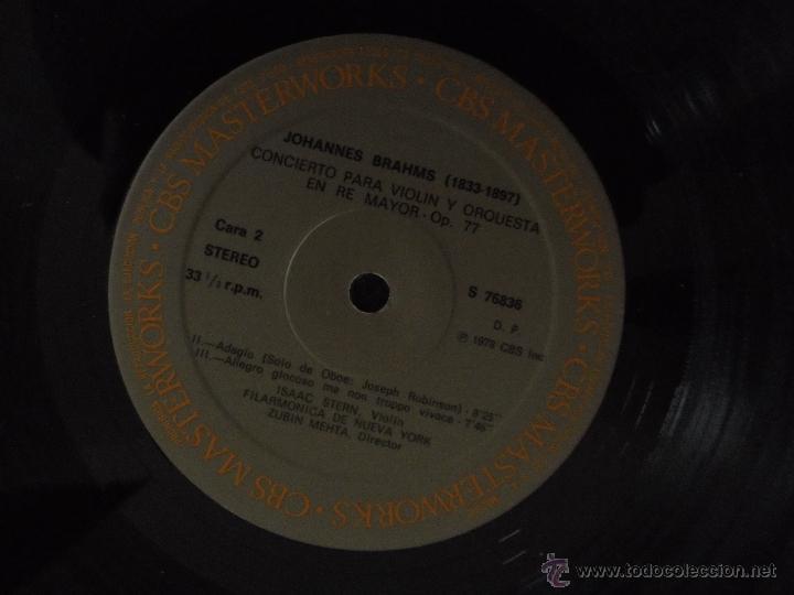 Discos de vinilo: BRAHMS CONCIERTO PARA VIOLIN. ISAAC STERN. ZUBIN MEHTA. FILARMONICA DE NUEVA YORK. MASTER WORKS CBS. - Foto 6 - 51099013