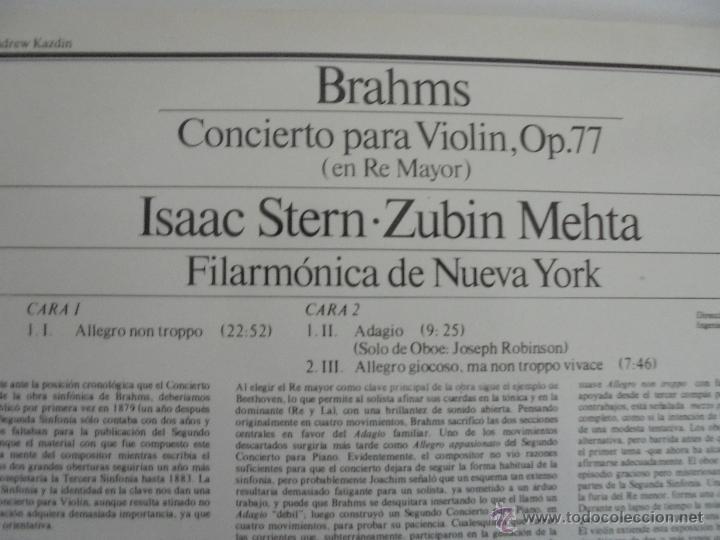 Discos de vinilo: BRAHMS CONCIERTO PARA VIOLIN. ISAAC STERN. ZUBIN MEHTA. FILARMONICA DE NUEVA YORK. MASTER WORKS CBS. - Foto 7 - 51099013