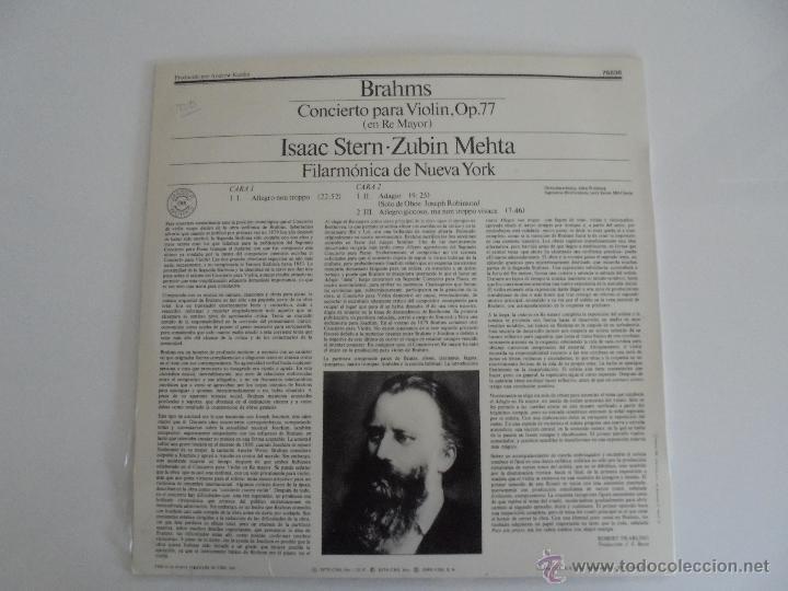 Discos de vinilo: BRAHMS CONCIERTO PARA VIOLIN. ISAAC STERN. ZUBIN MEHTA. FILARMONICA DE NUEVA YORK. MASTER WORKS CBS. - Foto 9 - 51099013