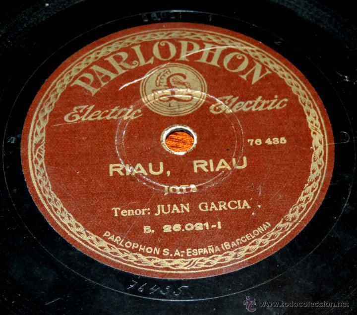 Discos de vinilo: DISCO DE PIZARRA DE JUAN GARCIA, RIAU, RIAU - COMO LA CAÑA DEL TRIGO, LA REGULVIDERA, ED. PARLOPHON, - Foto 4 - 51101135