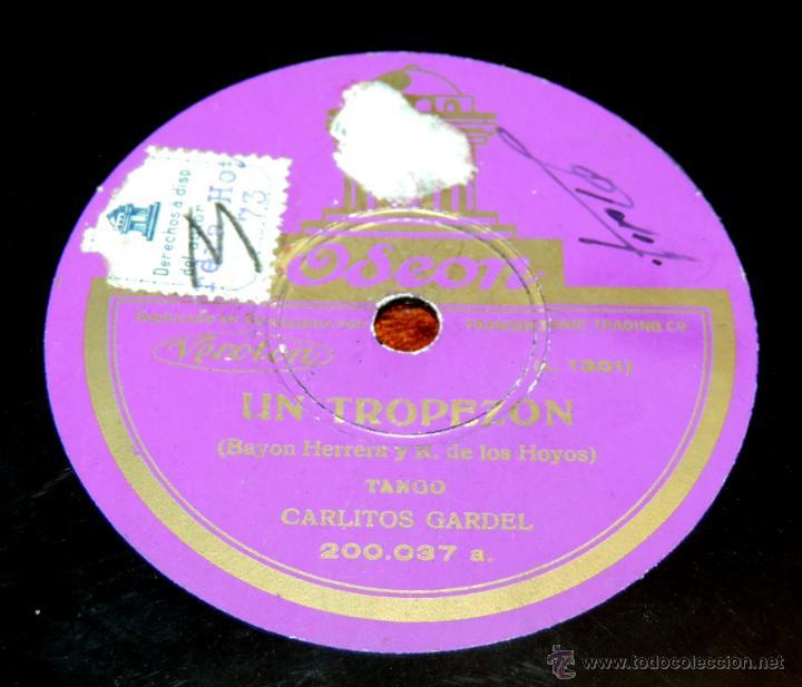 Discos de vinilo: DISCO DE PIZARRA DE CARLITOS GARDEL: Gimiendo / Un tropezón. ED. Odeon. Tango, 200037. - Foto 3 - 51101383