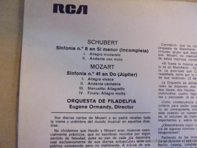 Discos de vinilo: EUGENE ORMANDY / ORQUESTA FILADELFIA - RCA - MOZART JUPITER - SCHUBERT INCOMPLETA SINFONIA - 1971 - Foto 2 - 131823989
