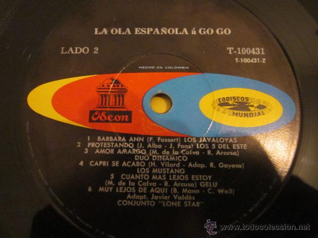 Discos de vinilo: LA OLA ESPAÑOLA A GO-GO - LP - MONOFONICO - ED.COLOMBIANA - MUSTANG,LONE STAR,GELU,BRUNO LOMAS,ETC. - Foto 4 - 51136106