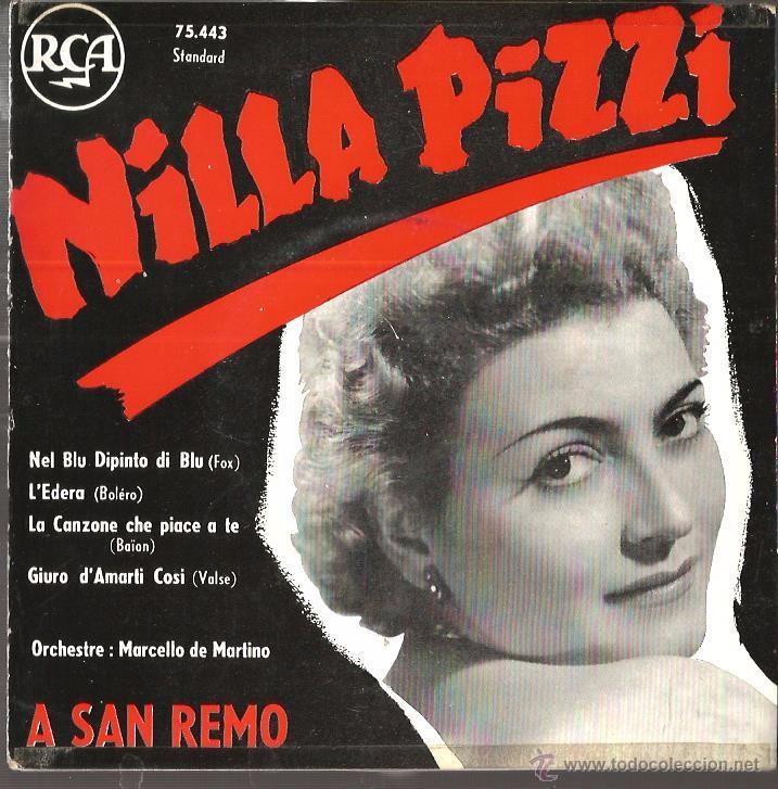 EP NILLA PIZZI ( A SAN REMO ) : NEL BLU DIPINTO DI BLU (MODUGNO) (Música - Discos de Vinilo - EPs - Canción Francesa e Italiana)